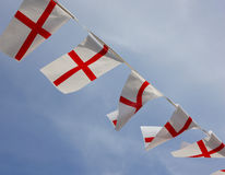 England Bunting Flags. England flags flying on St George's Day (or when an English sports team is at a world event Stock Photo