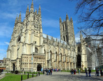 England - Canterbury Cathedral in Springtime. Canterbury, United Kingdom - April 20, 2012: Canterbury Anglican Cathedral and visiting tourists in Springtime Royalty Free Stock Photos