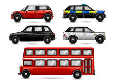 England cars. Set of England cars isolated on white background Royalty Free Stock Image