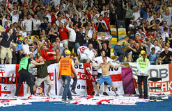 England celebrate after scoring against Sweden Stock Photography