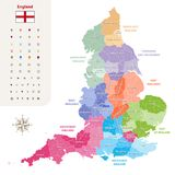 England ceremonial counties vector map colored by regions. Isolated on light background Royalty Free Stock Images