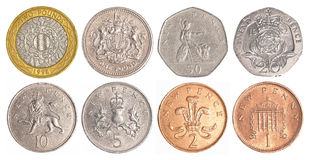 England circulating coins. Collection set isolated on white background Royalty Free Stock Photography