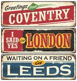 England cities retro souvenirs set Stock Photography