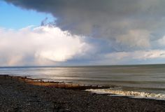 England Coastline. Snow storm clouds forming on the South East Coast of England Royalty Free Stock Photos