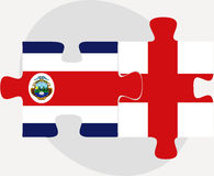 England and Costa Rica Flags in puzzle Stock Photo