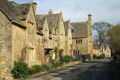 UK, Cotswolds, picturesque street in Stanton village royalty free stock images