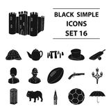 England country set icons in black style. Big collection of England country vector symbol stock illustration. England country set icons in black design. Big Stock Image
