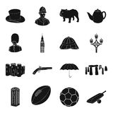 England country set icons in black style. Big collection of England country vector symbol stock illustration. England country set icons in black design. Big Stock Photography