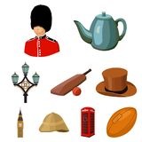 England country set icons in cartoon style.   Stock Photos