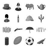 England country set icons in monochrome style. Big collection of England country vector symbol stock illustration. England country set icons in monochrome design Stock Images