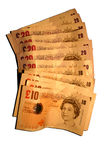 England currency. Various banknotes of England currency, isolated Royalty Free Stock Photography