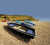 England devon jurassic coast. England devon the jurassic coast at branscombe mouth, boat on the  beach Royalty Free Stock Image