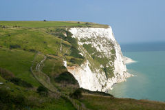 England Dover White Cliffs. The White Cliffs of Dover offer miles of footpaths for walking. You can choose long or short walks. The views are really stunning on Royalty Free Stock Images