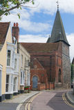 Maldon essex uk. England Essex Maldon backstreet scene to church, spire and old historical buildings Royalty Free Stock Images