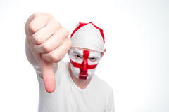 England Fan Doing Thumbs Down Royalty Free Stock Photos