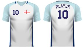England fan sports tee shirt in generic country colors. England national soccer team shirt in generic country colors for fan apparel stock illustration