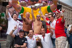 England fans arrive in the fanzone royalty free stock image