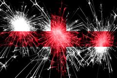 England fireworks sparkling flag. New Year, Christmas and National day concept.  royalty free illustration