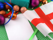 England flag with christmas decoration, new year Stock Photo