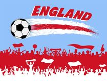 England flag colors with soccer ball and English supporters silh. Ouettes. All the objects, brush strokes and silhouettes are in different layers and the text Stock Photo