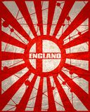 England flag concept. England national flag on sunburst background. Card template for national holiday celebration. Red and white rays textured by lines with royalty free stock photos