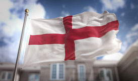 England Flag 3D Rendering on Blue Sky Building Background Royalty Free Stock Image