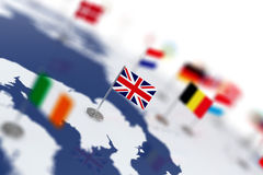 England flag in the focus. Europe map with countries flags Stock Photo