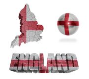 English Symbols. England flag and map in different styles in different textures Stock Image