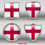 England Flag in 4 shapes collection with clipping path stock images