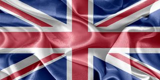 England flag. Shiny satin england flag in the background royalty free stock photos