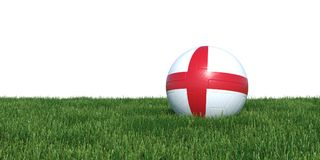 England flag soccer ball lying in grass world cup 2018. Isolated on white background. 3D Rendering, Illustration Stock Photography