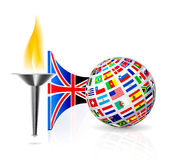 England flag with torch. Torch with flame with england flag and globe from flags other countries. Vector illustration Stock Images