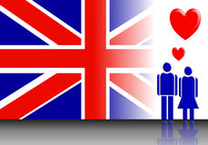 England flag and Valentine couple Stock Photography
