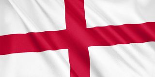 England flag waving with the wind. England flag waving with the wind, wide format, 3D illustration. 3D rendering stock illustration