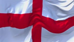 113 England flagga som vinkar i fortlöpande sömlös öglasbakgrund för vind lager videofilmer