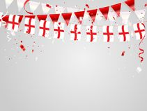 England flags Celebration background with confetti and red and White ribbons. England flags Celebration background template with confetti and red and White Royalty Free Stock Images
