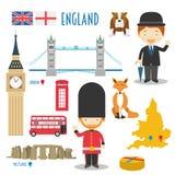 England Flat Icon Set Travel and tourism concept. Stock Photo