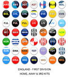 England Football League - Kit Teams. Set of buttons with home, away and third kits for english first division football league teams Royalty Free Stock Images