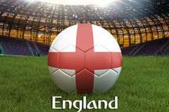 England football team ball on big stadium background. England Team competition concept. England flag on ball team tournament in Ru. Ssia. Sport competition on Royalty Free Stock Photos