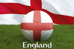 England football team ball on big stadium background. England Team competition concept. England flag on ball team tournament in Ru. Ssia. Sport competition on Royalty Free Stock Image