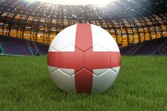 England football team ball on big stadium background. England Team competition concept. England flag on ball team tournament in Ru. Ssia. Sport competition on Stock Photo