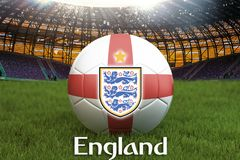 England football team ball on big stadium background with England Team logo competition concept. England flag on ball team tournam. Ent in Russia.Sport Royalty Free Stock Photography