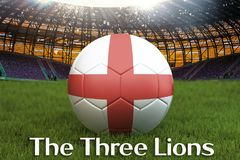 England football team ball on big stadium background with The Three Lions text. England Team competition concept. England flag on. Team tournament. Sport Royalty Free Stock Photos