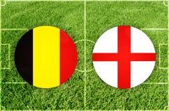 England gegen Russland-Fußballspiel Stockbild
