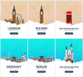 England, Germany. Time to travel. Set of Travel posters. Vector flat illustration. royalty free illustration