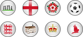 England Glossy Icon Set Royalty Free Stock Photography