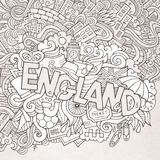 England hand lettering and doodles elements Royalty Free Stock Photo