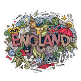 England hand lettering and doodles elements Royalty Free Stock Image