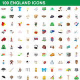 100 england icons set, cartoon style. 100 england icons set in cartoon style for any design vector illustration royalty free illustration