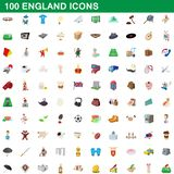 100 england icons set, cartoon style. 100 england icons set in cartoon style for any design illustration stock illustration